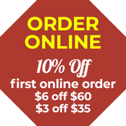 10% off first online order! $5 off $50 $3 off $30